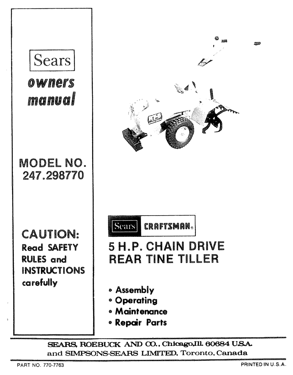 Craftsman 247 298770 Owner S Manual Pdf Download Manualslib