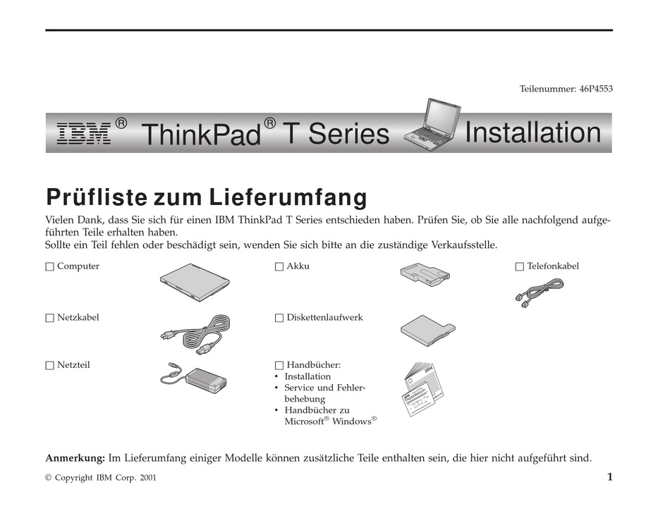 Lenovo Thinkpad T23 Installation Manual Pdf Download Manualslib
