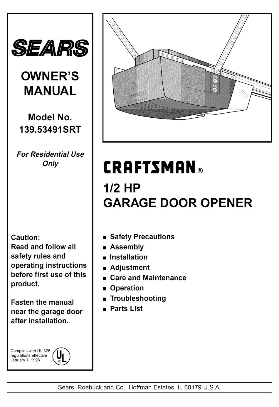 Craftsman 139 53491srt Owner S Manual Pdf Download Manualslib