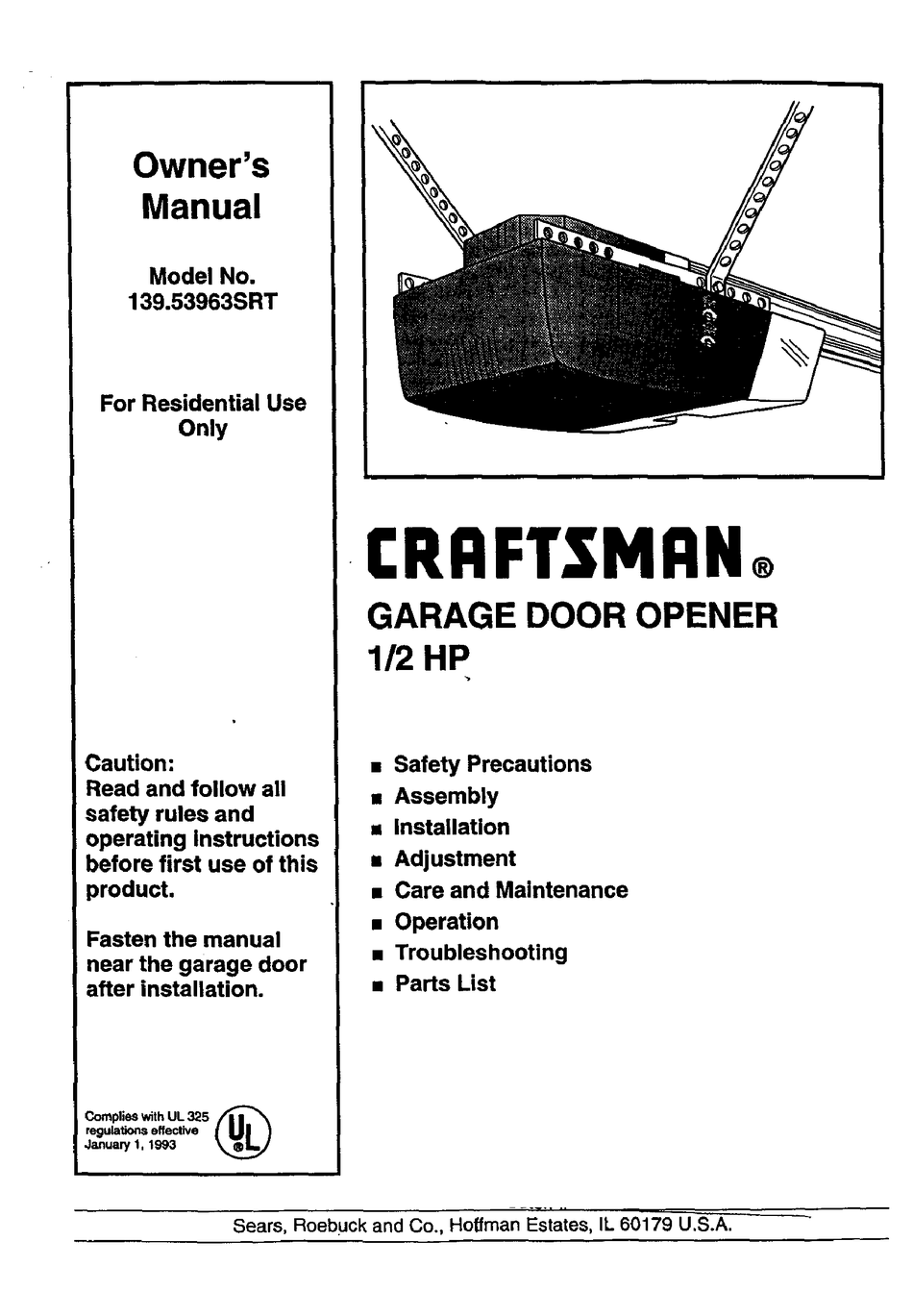 Craftsman 139 53963srt Owner S Manual Pdf Download Manualslib
