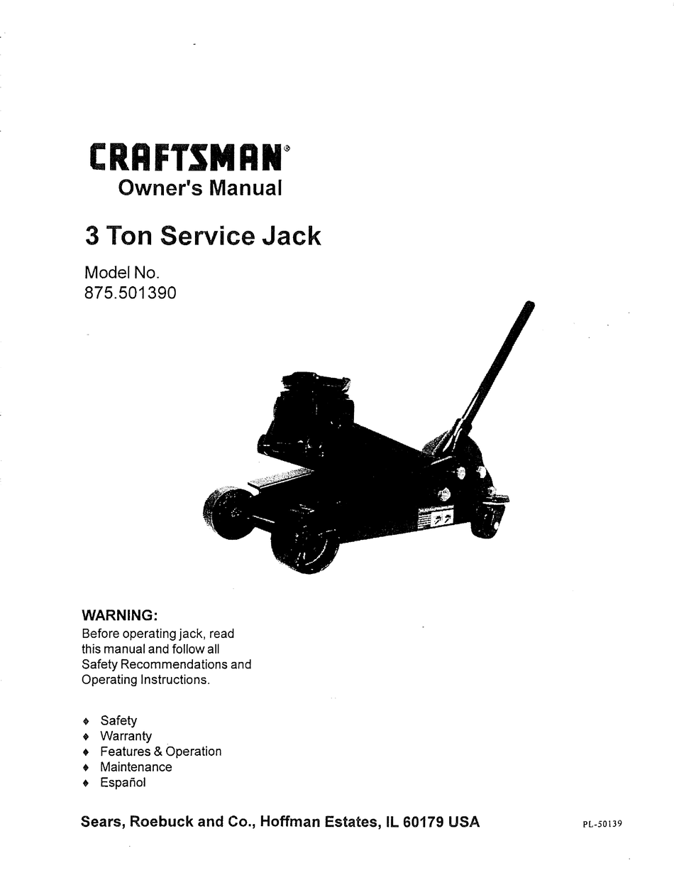 Craftsman 875 501390 Owner S Manual Pdf Download Manualslib