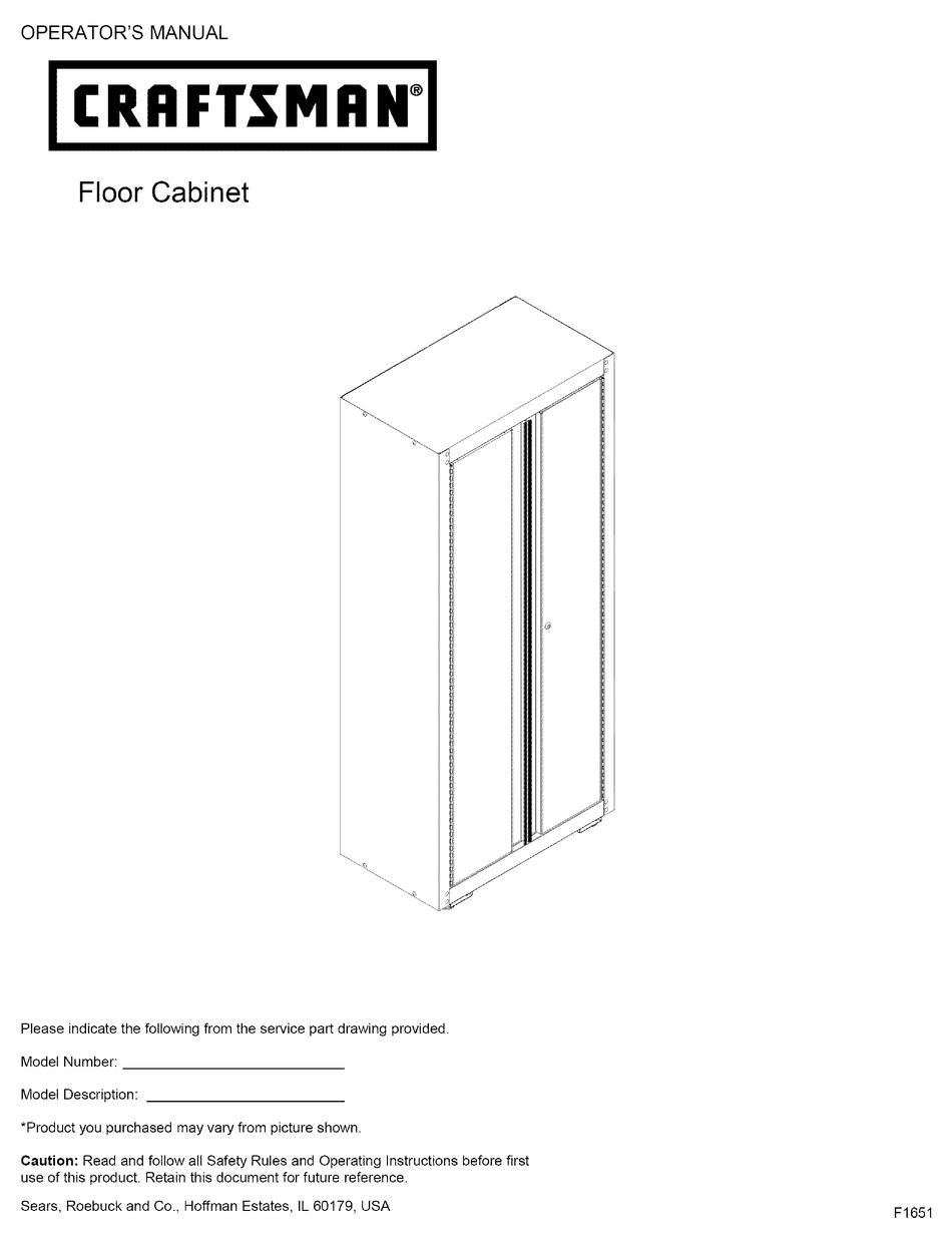 Craftsman Floor Cabinet Operator S, Craftsman Floor Cabinet Assembly Instructions