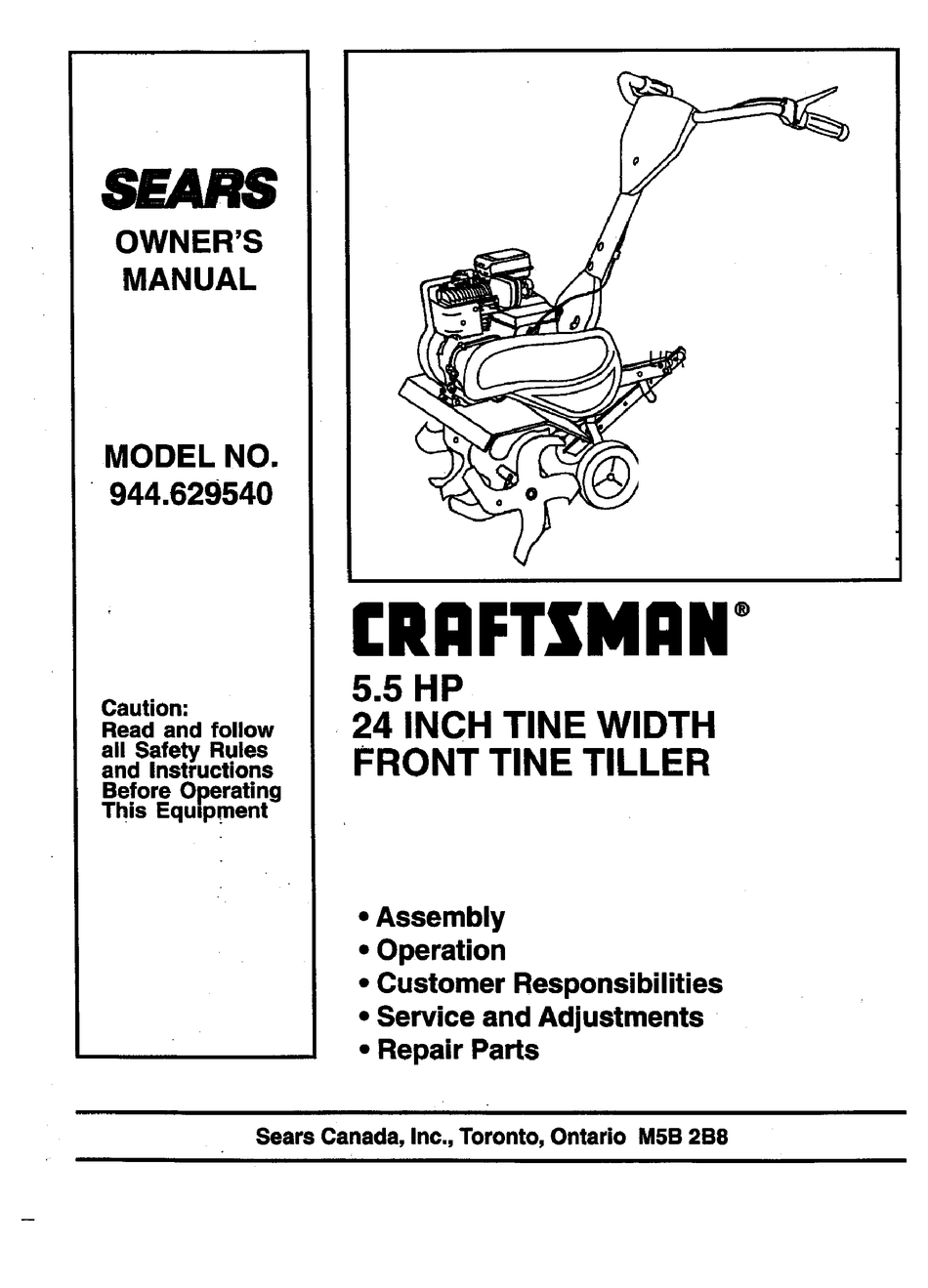 Craftsman 944 629540 Owner S Manual Pdf Download Manualslib