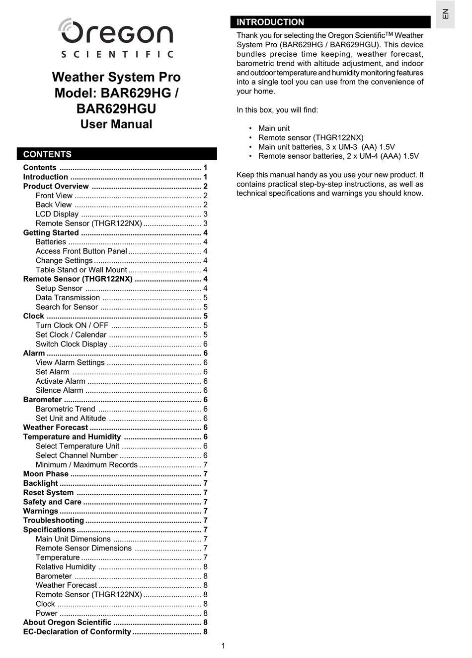 Oregon Scientific Bar629hg User Manual Pdf Download Manualslib