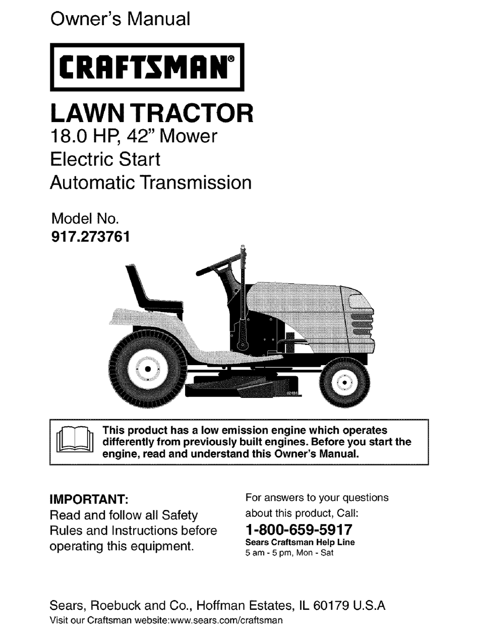 Craftsman 917 273761 Owner S Manual Pdf Download Manualslib