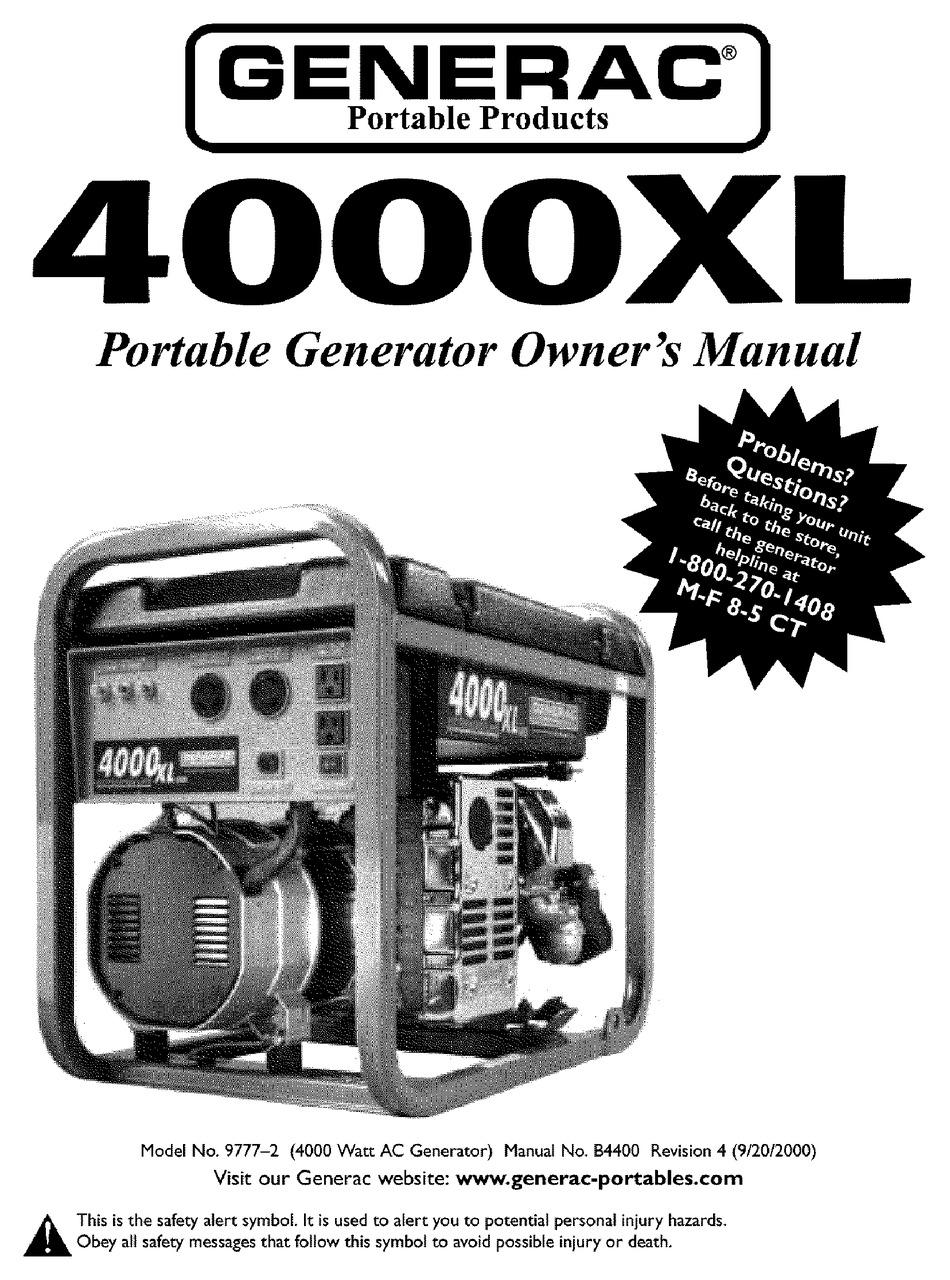 GENERAC PORTABLE PRODUCTS 4000XL 9777-2 OWNER'S MANUAL Pdf Download    ManualsLib   Generac 4000 Wiring Schematic      ManualsLib