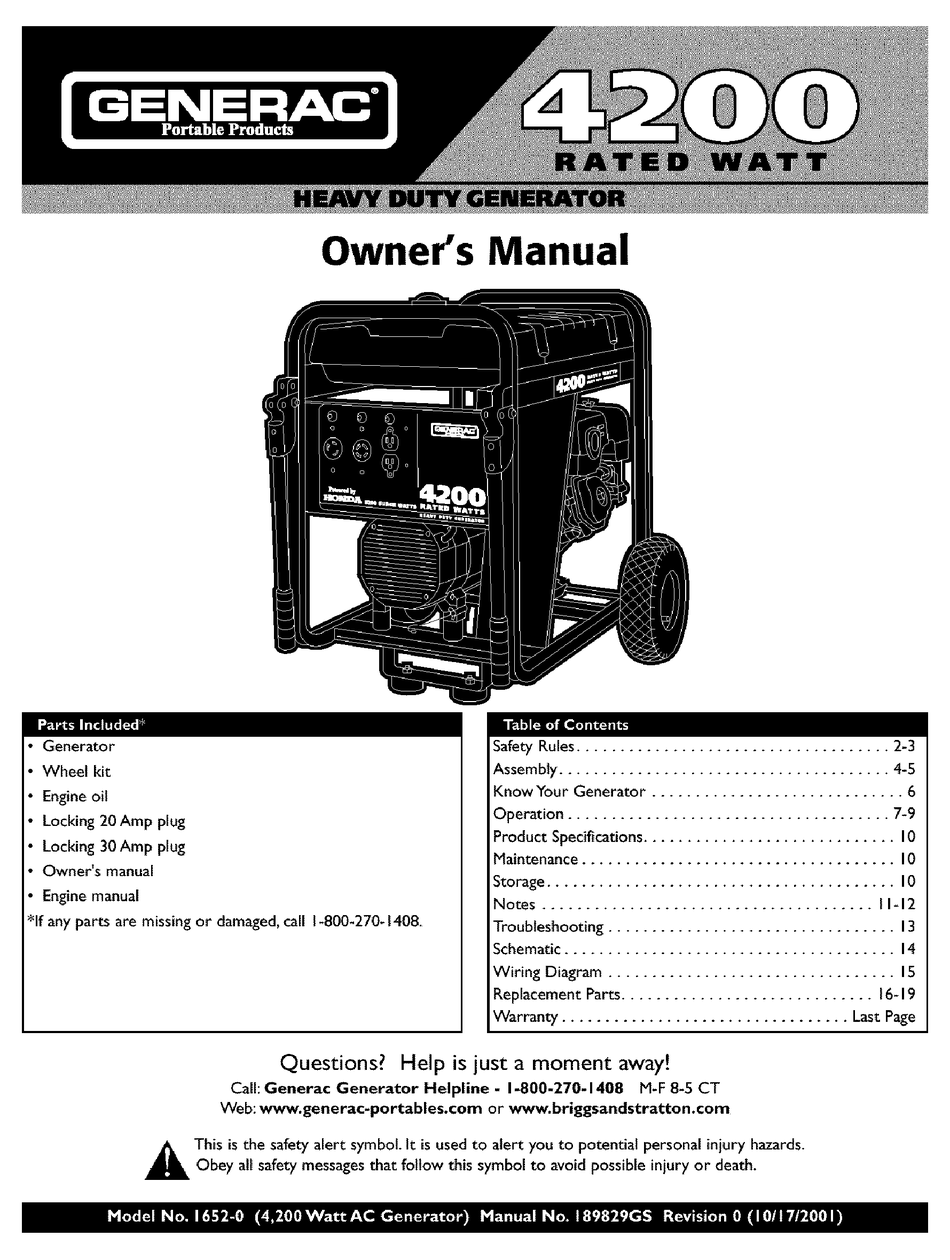 GENERAC PORTABLE PRODUCTS 1652-0 OWNER'S MANUAL Pdf Download   ManualsLib   Generac 4000 Wiring Schematic      ManualsLib