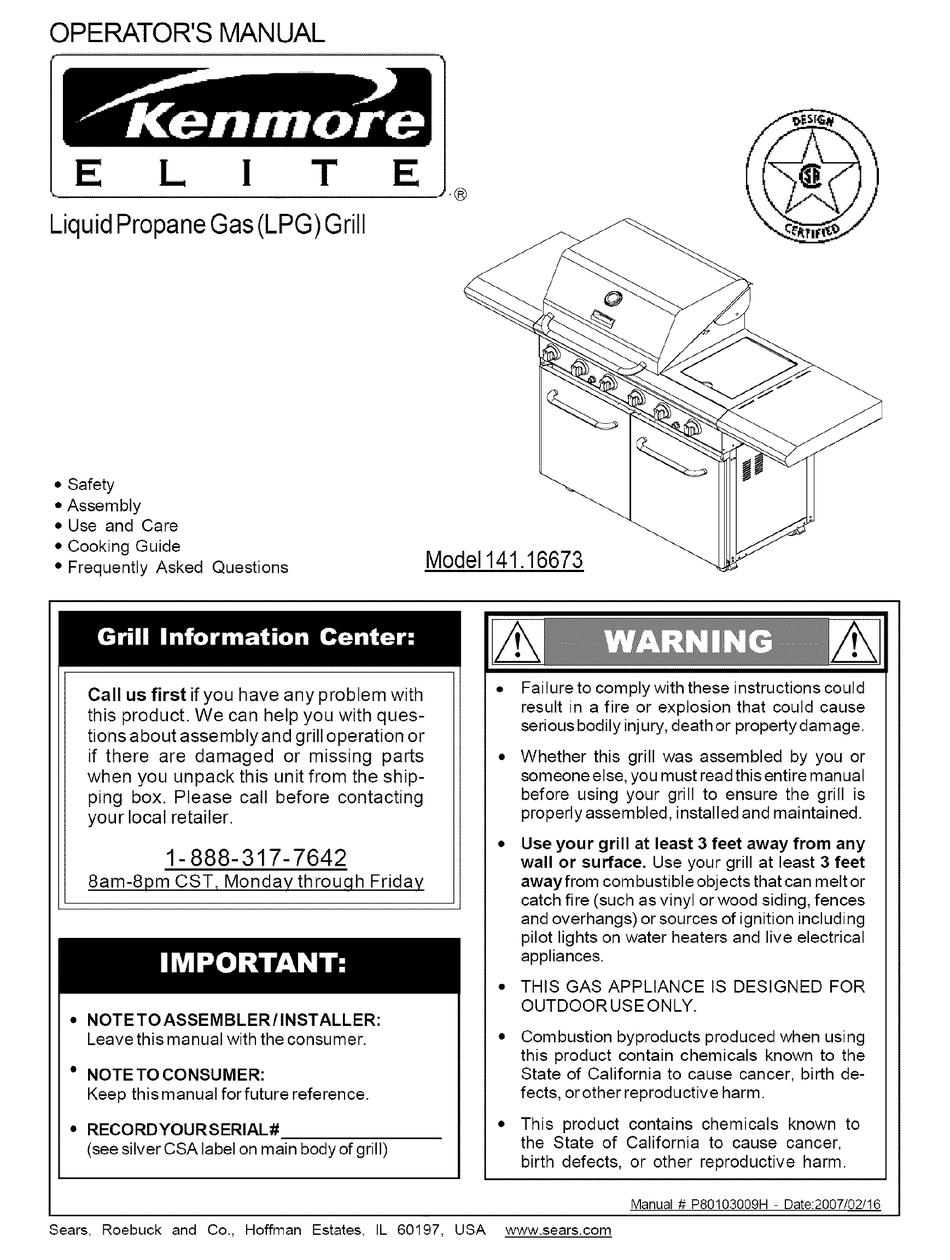 Kenmore Elite 141 16673 Operator S Manual Pdf Download Manualslib