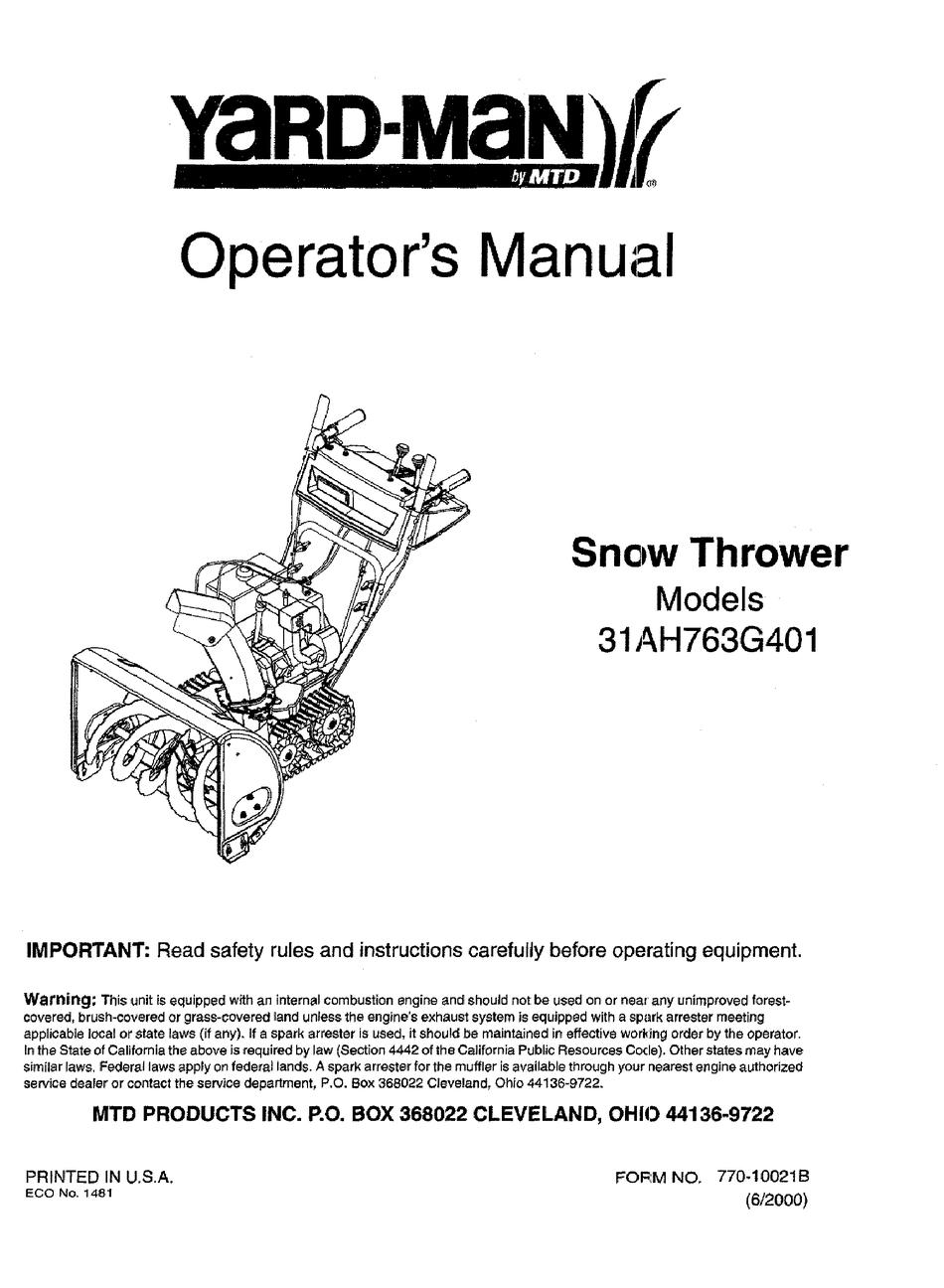 Yard Man 31ah763g401 Operator S Manual Pdf Download Manualslib