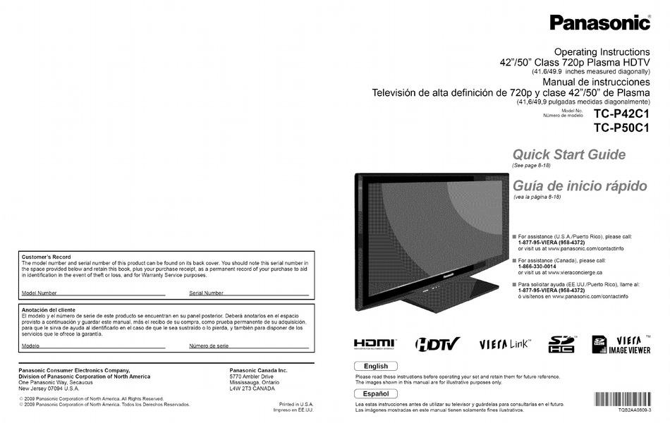 Panasonic Tc P50c1 Operating Instructions Manual Pdf Download Manualslib