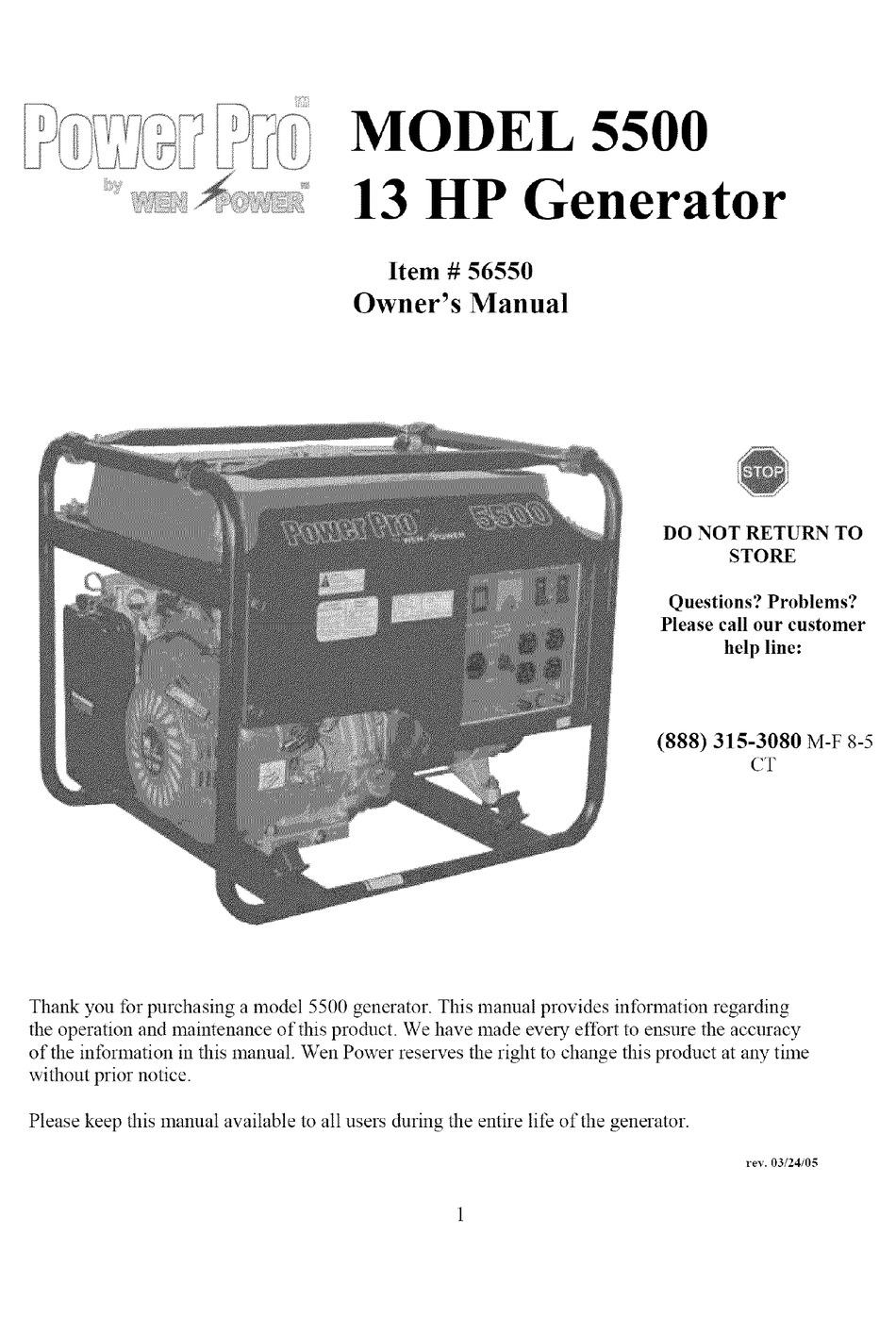 [SCHEMATICS_4PO]  WEN POWER POWER PRO 5500 OWNER'S MANUAL Pdf Download | ManualsLib | Wen 5500 Generator Wiring Diagram |  | ManualsLib