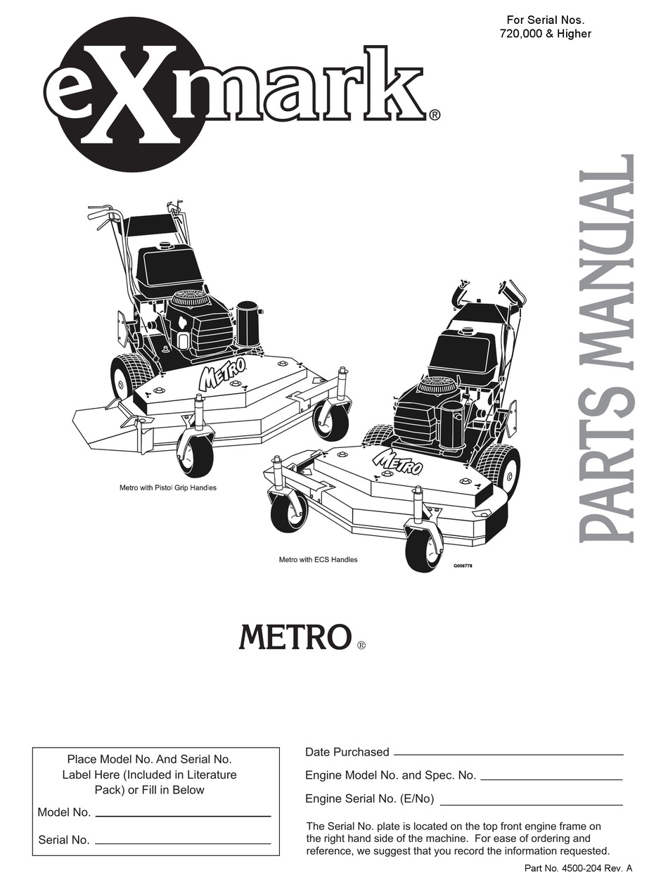 Exmark Metro Parts Manual Pdf Download Manualslib