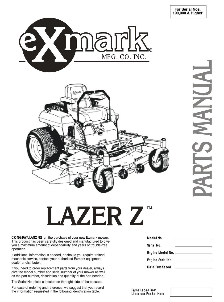 Exmark Lazer Z Parts Manual Pdf Download Manualslib