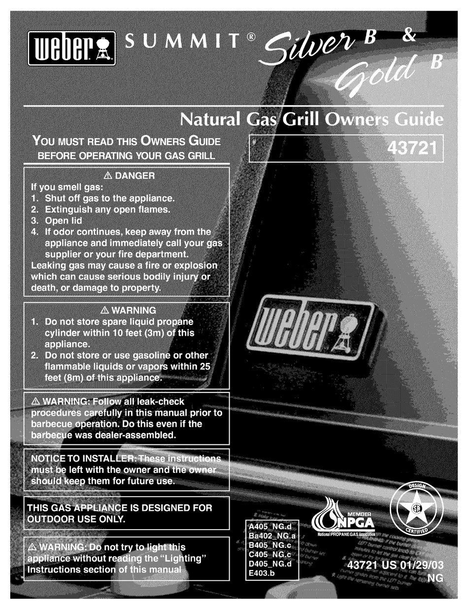 Weber Summit Silver B Owner S Manual Pdf Download Manualslib