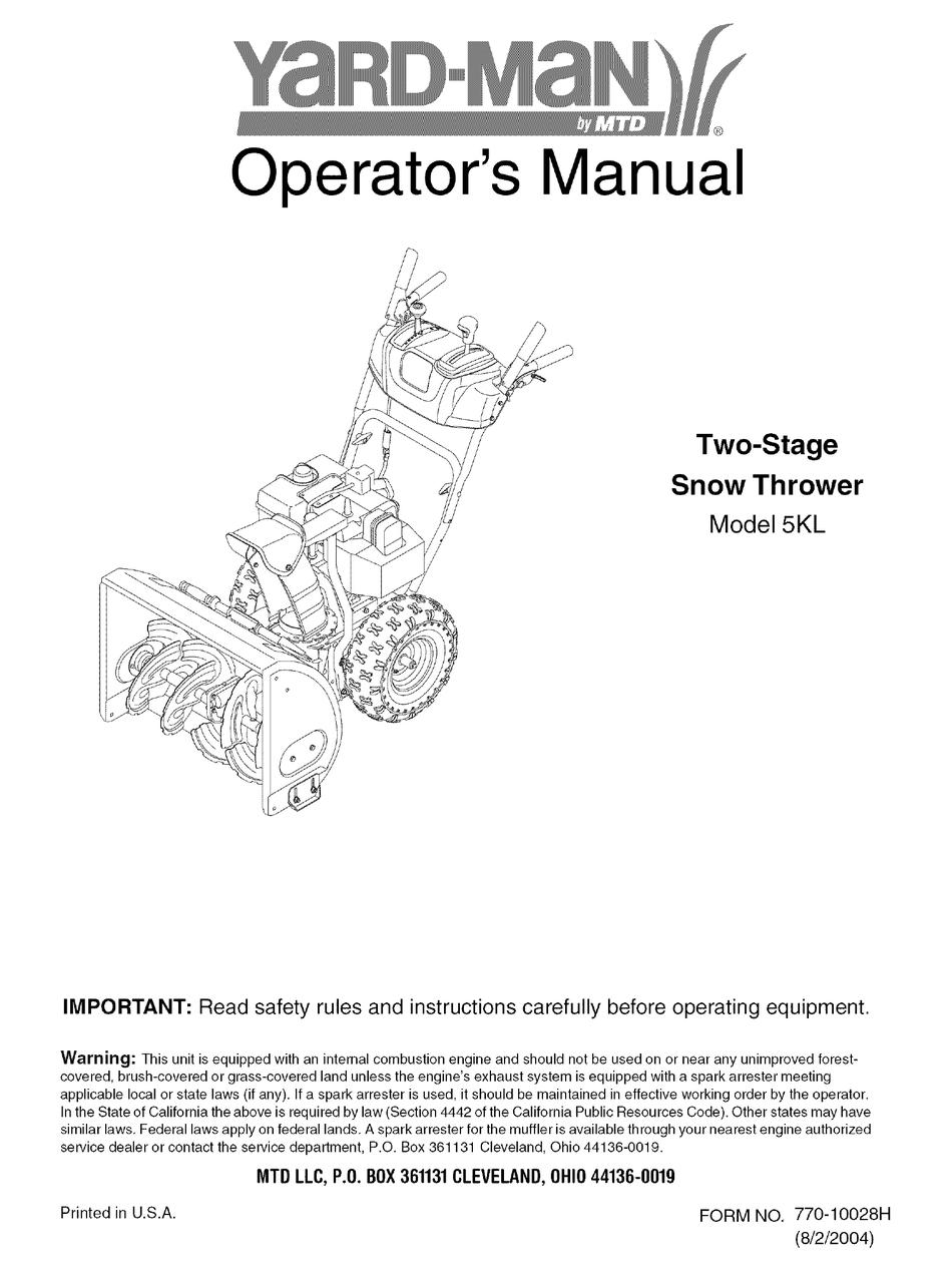 Yard Man 5kl Operator S Manual Pdf Download Manualslib