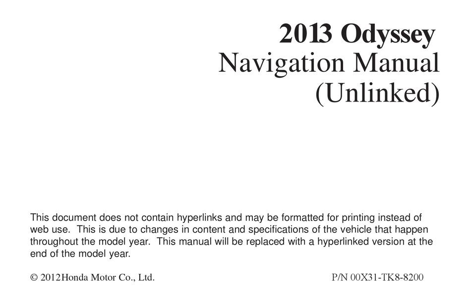 Honda Odyssey Navigation Manual Pdf Download Manualslib