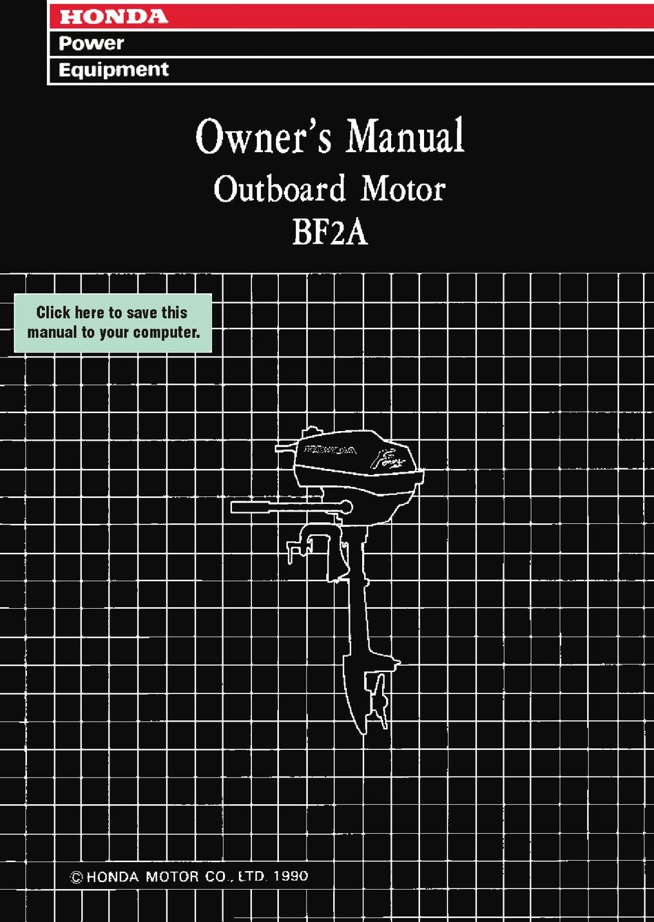 Honda Bf2a Owner S Manual Pdf Download Manualslib