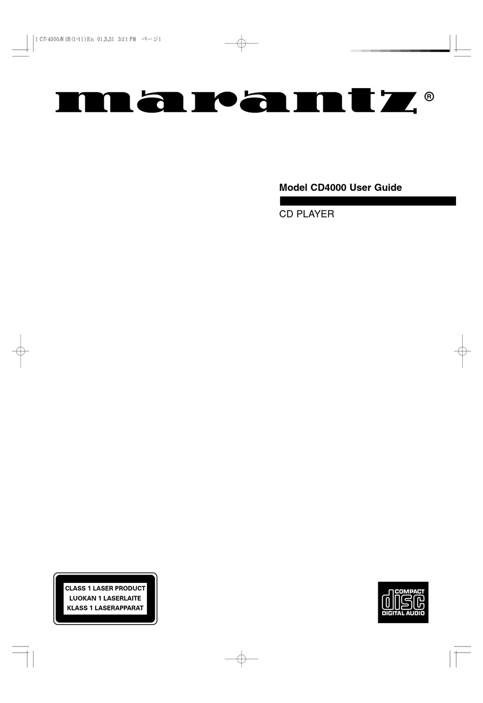 Marantz Cd4000 User Manual Pdf Download Manualslib