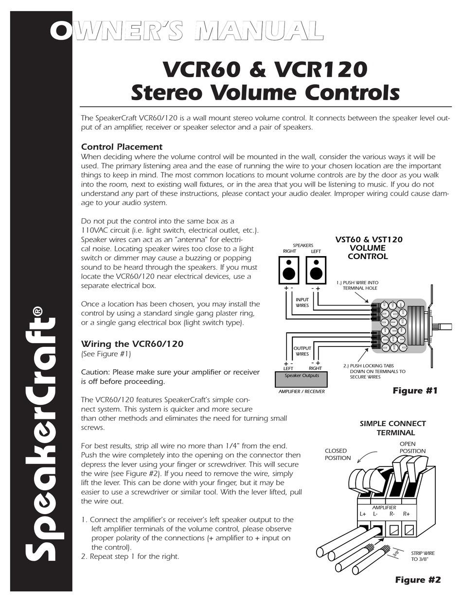 SPEAKERCRAFT VCR120 OWNER'S MANUAL Pdf Download | ManualsLib | Speakercraft Wiring Diagram |  | ManualsLib