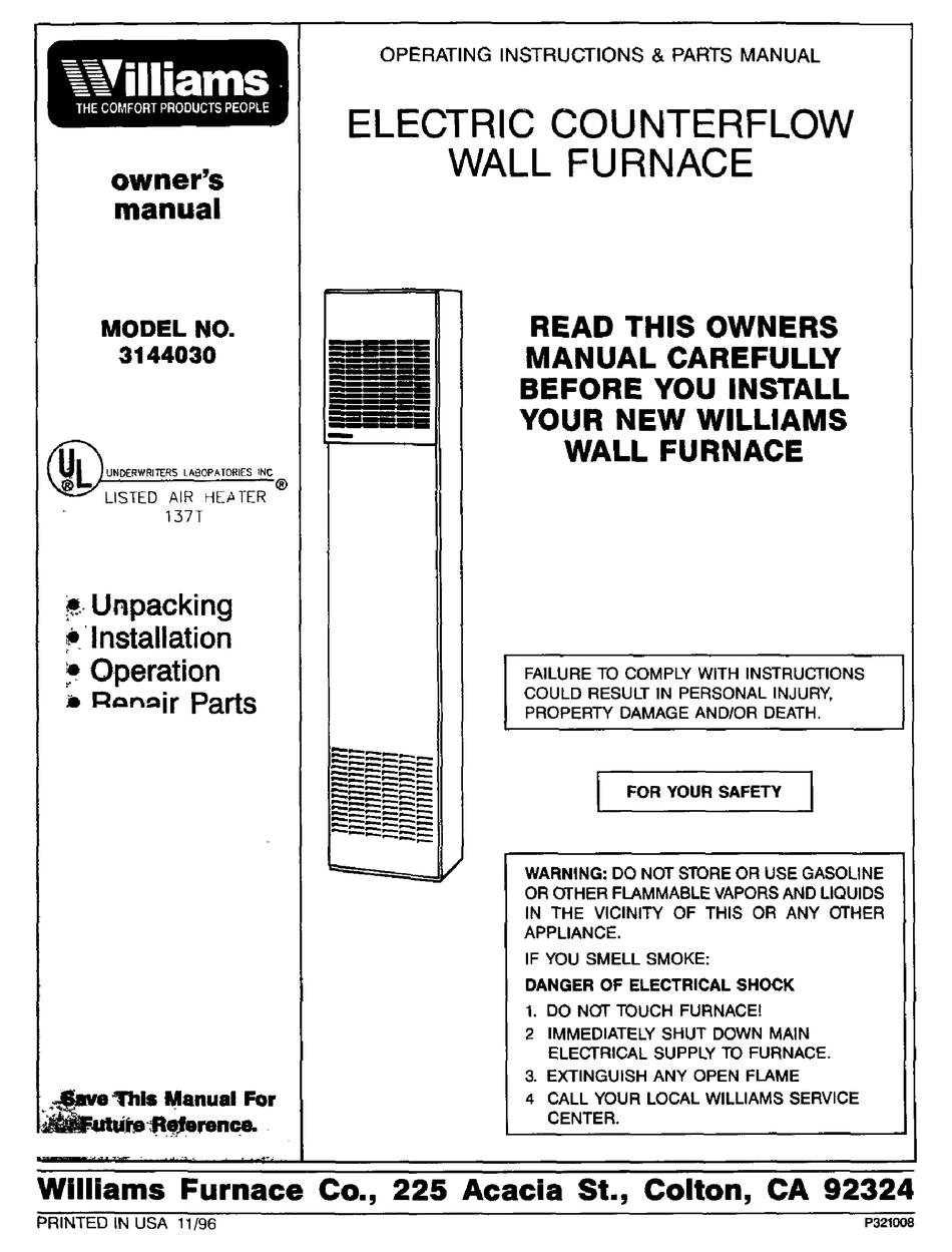 Williams 3144030 Owner S Manual Pdf