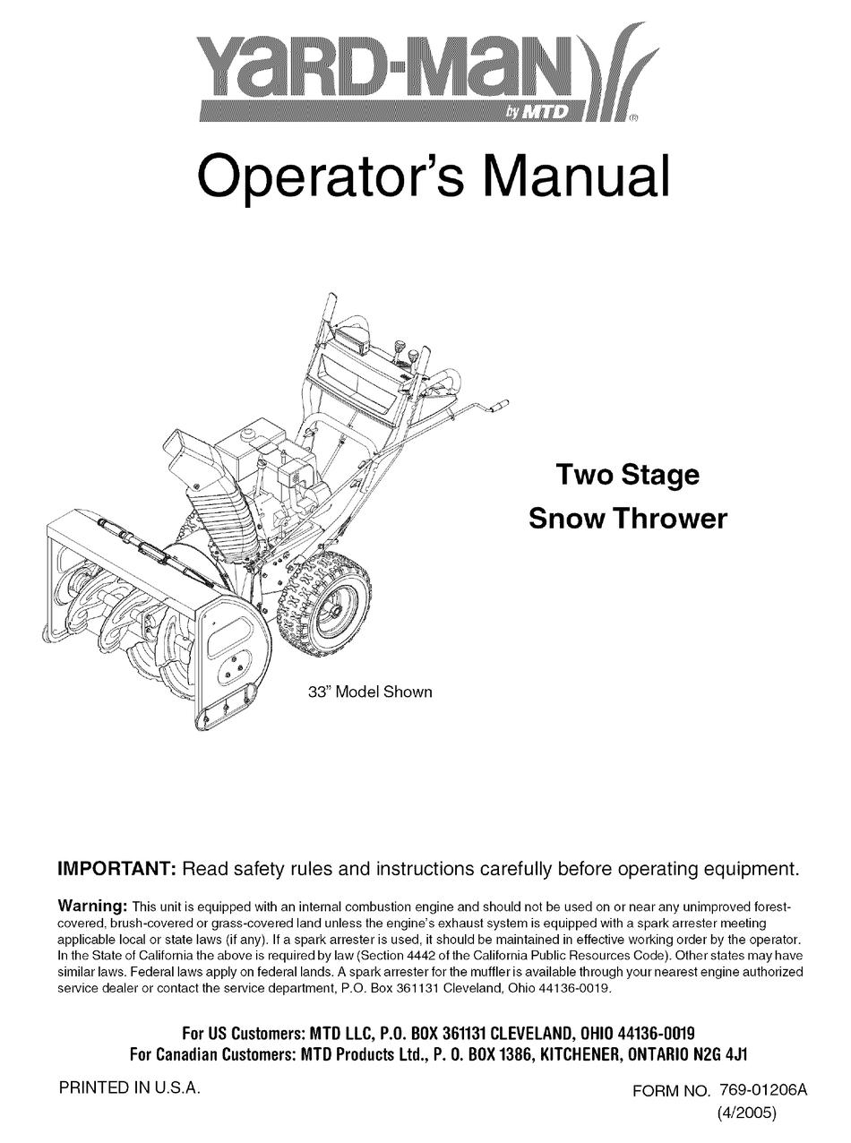 Yard Man 31ae9p3i801 Operator S Manual Pdf Download Manualslib