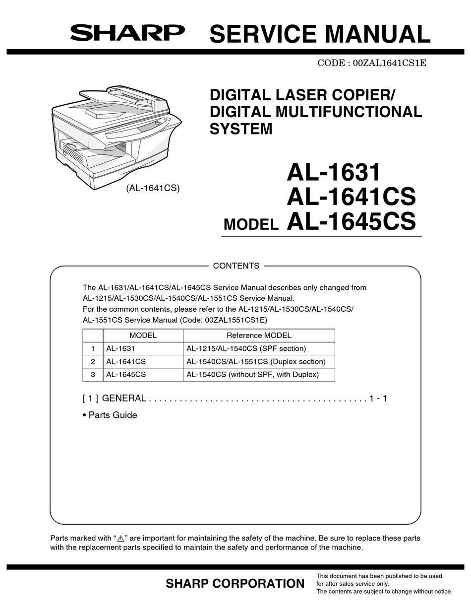 SHARP AL 1631 PARTS MANUAL Pdf Download ManualsLib