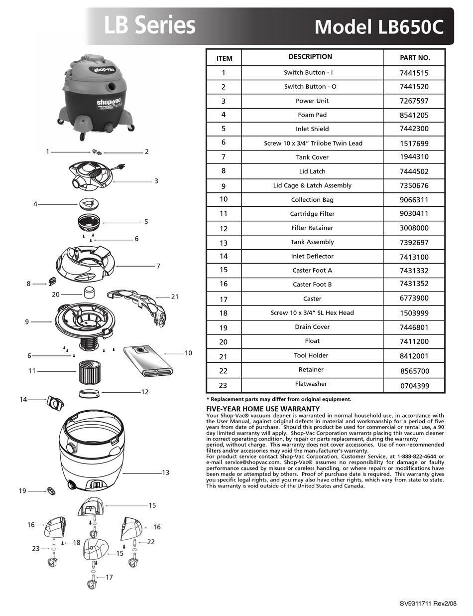 Replacement Vacuum Bag for ShopVac LB650C Vacuum Models