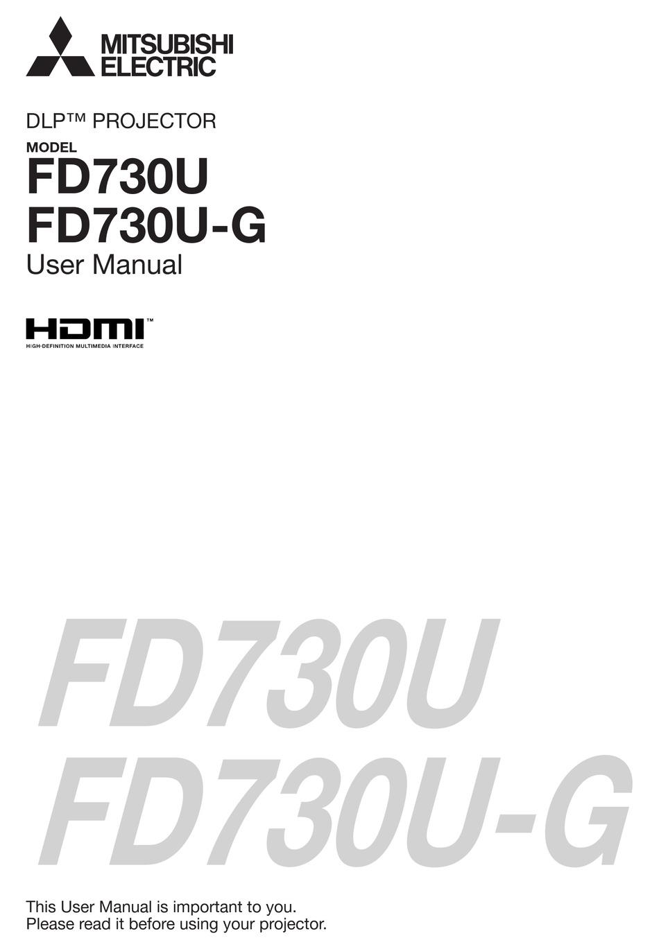 Mitsubishi Electric Dlp Fd730u User Manual Pdf Download Manualslib