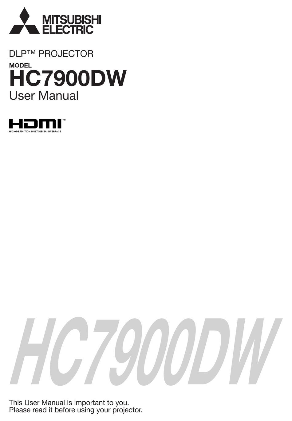 Mitsubishi Electric Dlp Hc7900dw User Manual Pdf Download Manualslib