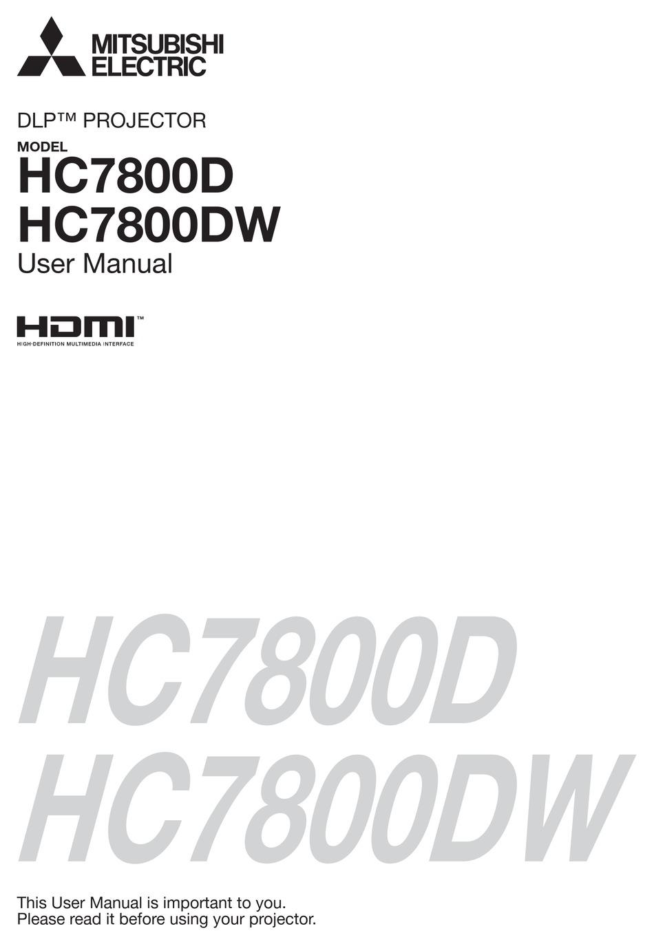 Projector Mitsubishi Electric Dlp Hc7800d User Manual