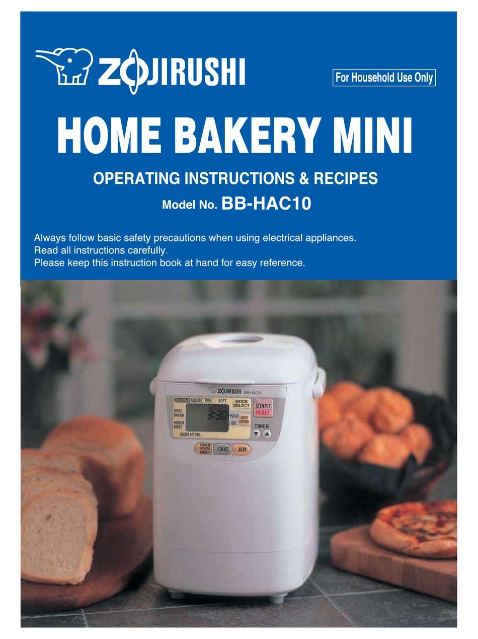 BB-CEC20 Zojirushi Bread Maker Manual BB-HAC10 BB-PAC20 BBCC-Q10 BBCC-M15