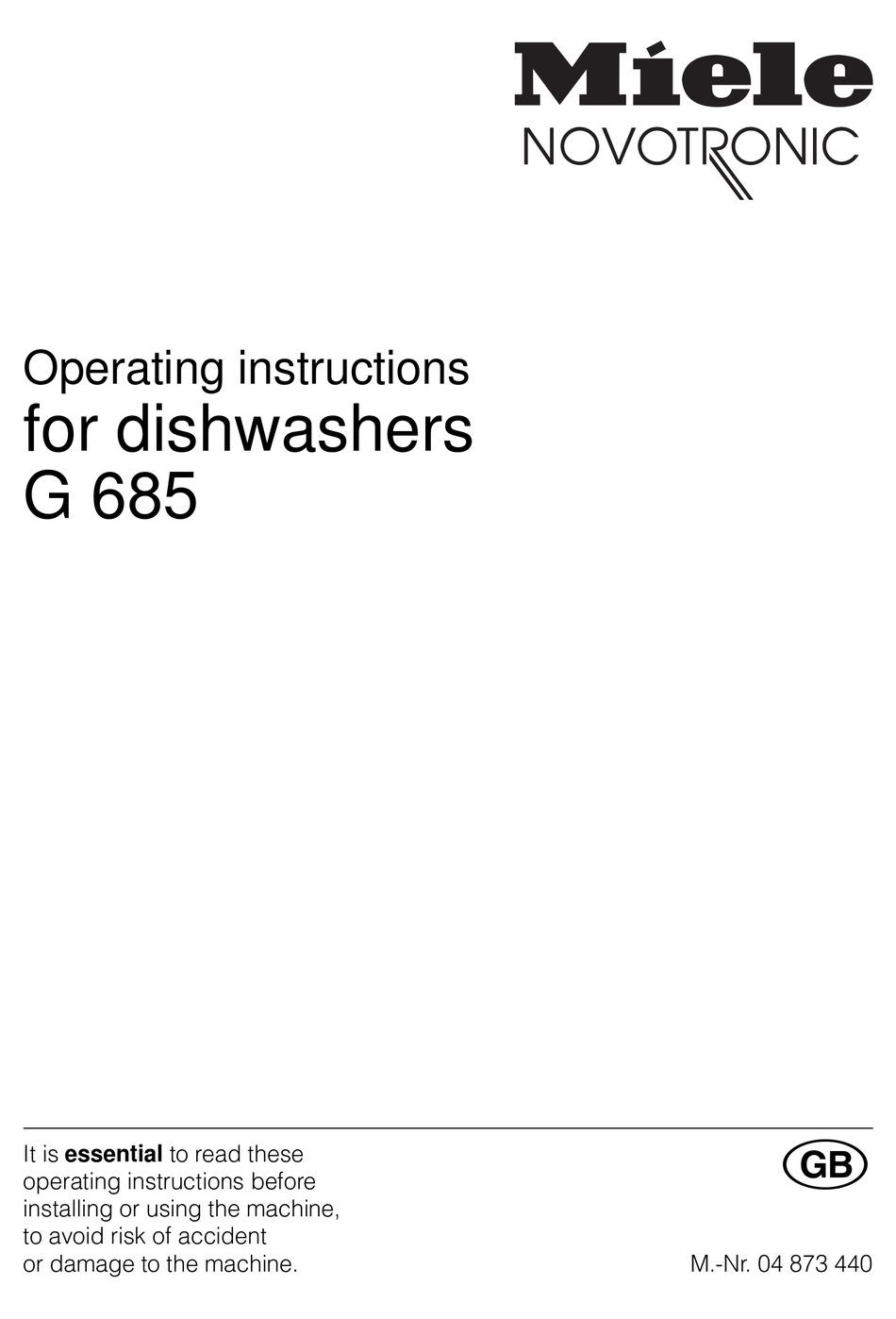Miele G 846 Sci Manuals Manualslib