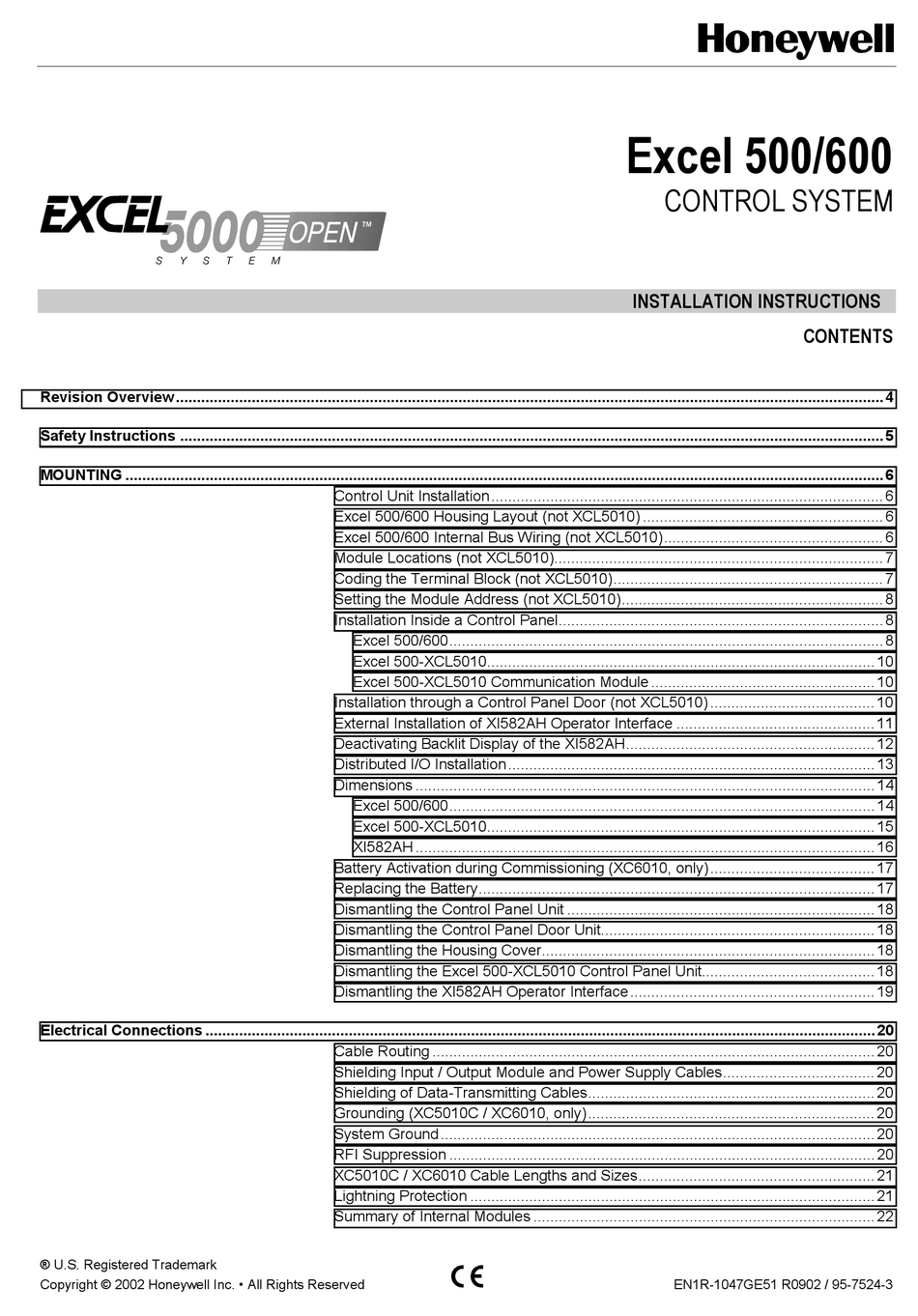 Honeywell Excel 500 XF524//523 //522 //521 //XP502 //5010 XI581 1 PIECE AU CHOIX