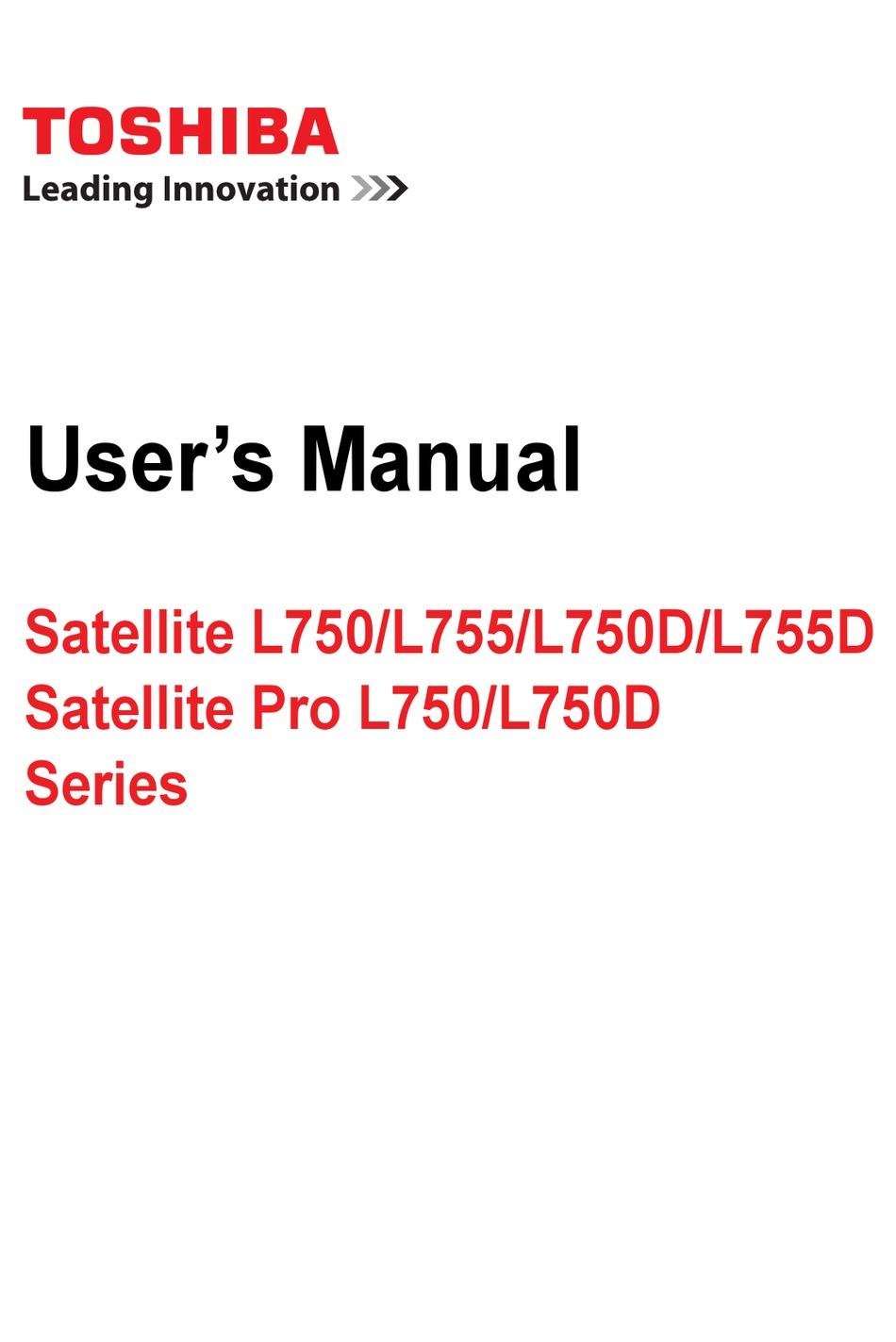 Toshiba Satellite L750 Series User Manual Pdf Download Manualslib