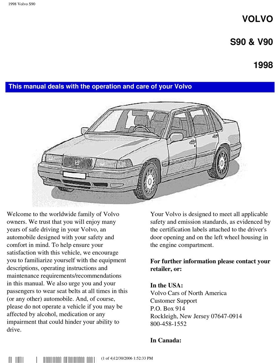 VOLVO S90 OPERATION MANUAL Pdf Download | ManualsLib | 1997 Volvo S90 Engine Diagram |  | ManualsLib