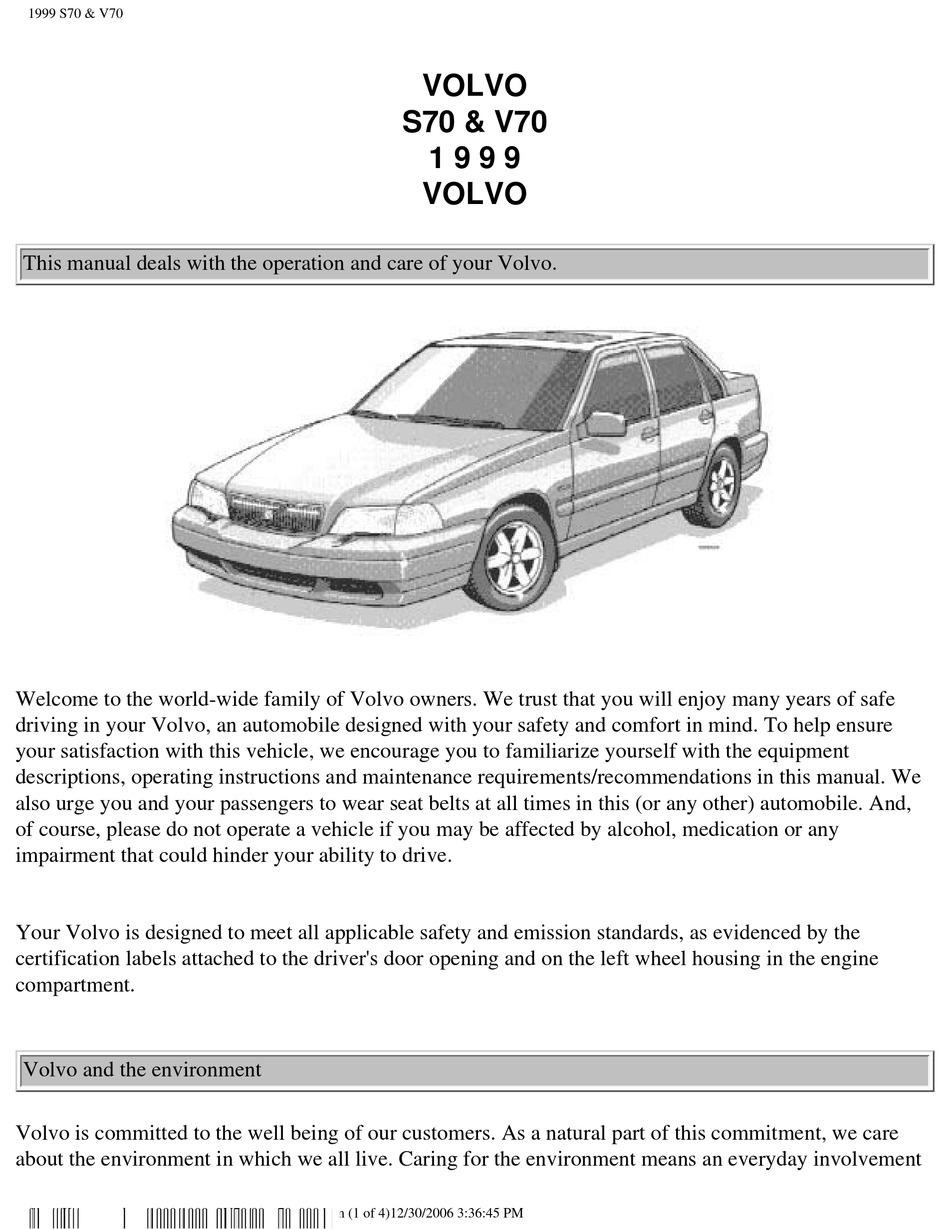 Volvo S70 Owner S Manual Pdf Download Manualslib