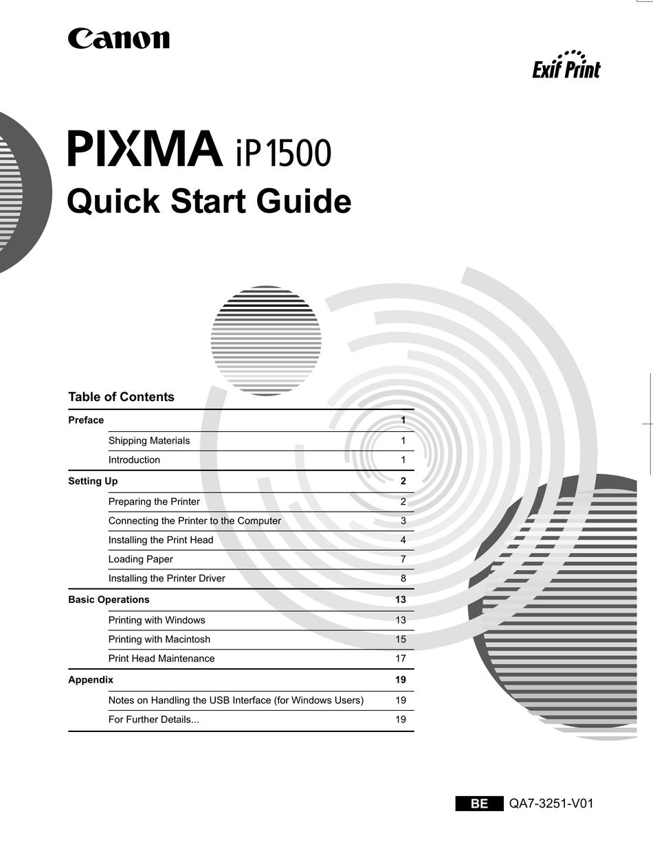 Canon Pixma Ip1500 Quick Start Manual Pdf Download Manualslib