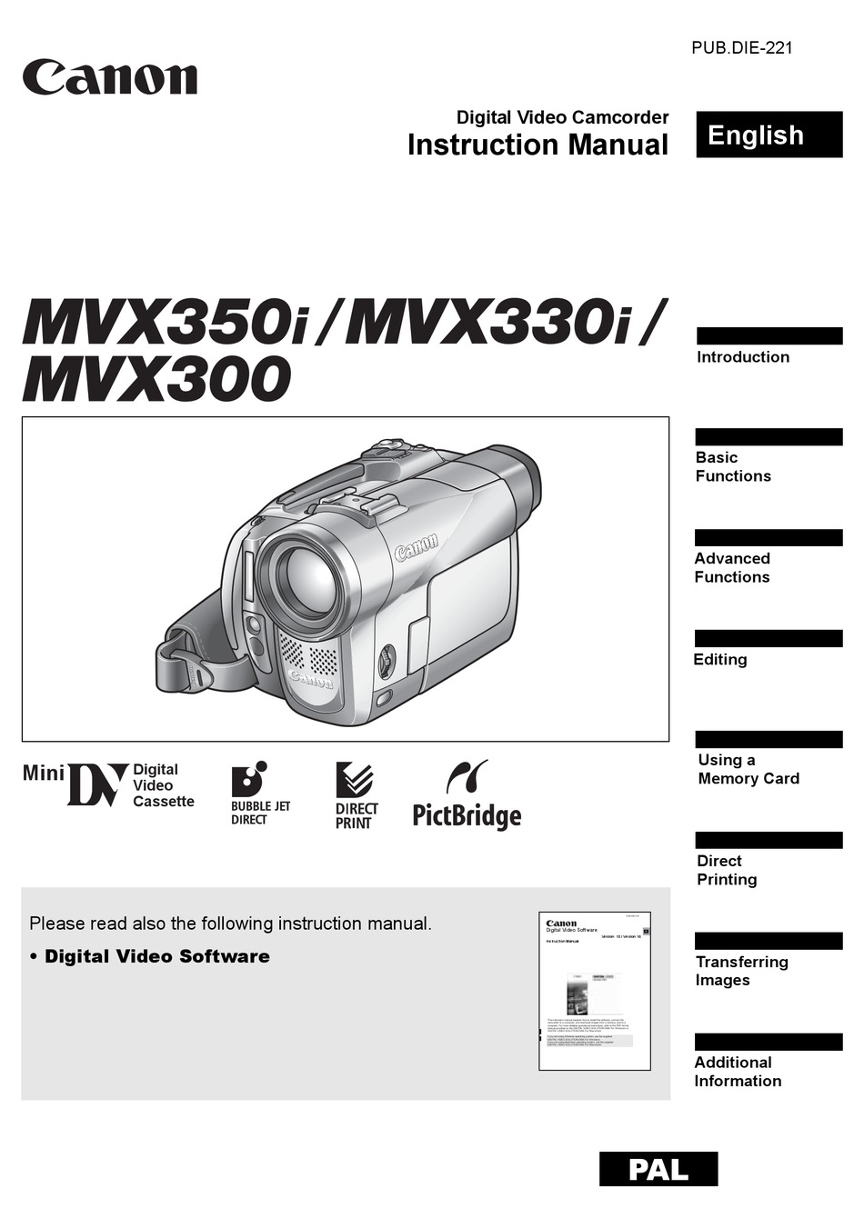Canon Mvx350i Instruction Manual Pdf Download Manualslib