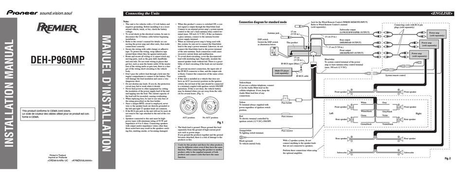 Pioneer Premier Deh P960mp Installation, Pioneer Premier Wiring Diagram