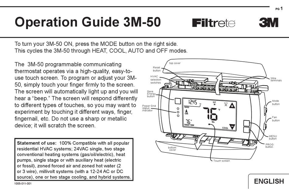 Filtrete 3m 50 Operation Manual Pdf Download Manualslib