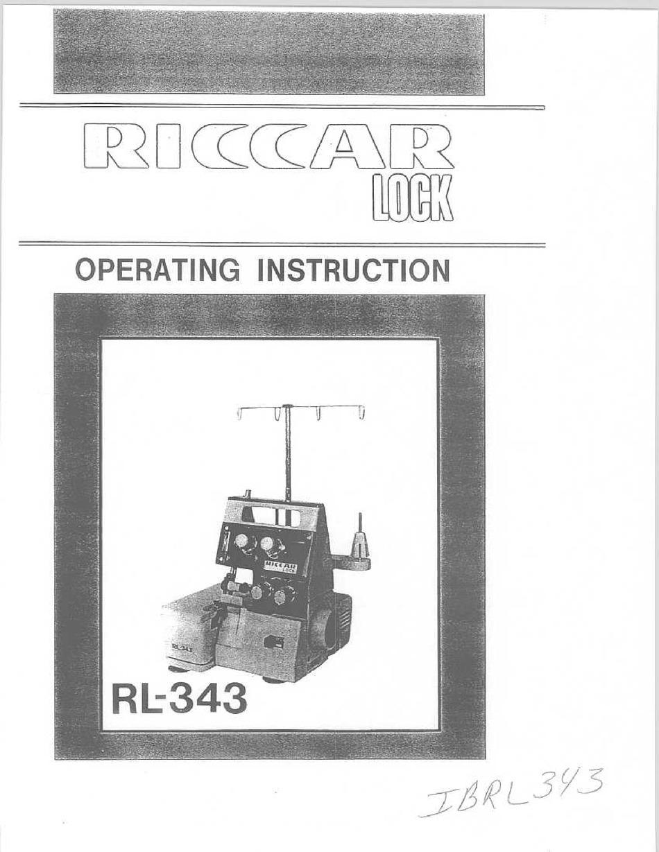 PDF Riccar Lock RL-343D RL-343DR Overlock Serger Machine Adjusters ...