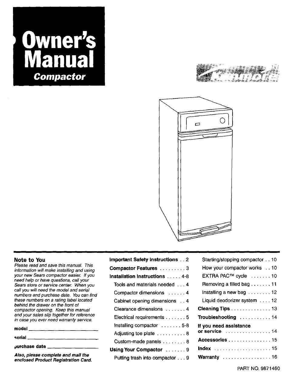 Kenmore Compactor Owner S Manual Pdf Download Manualslib
