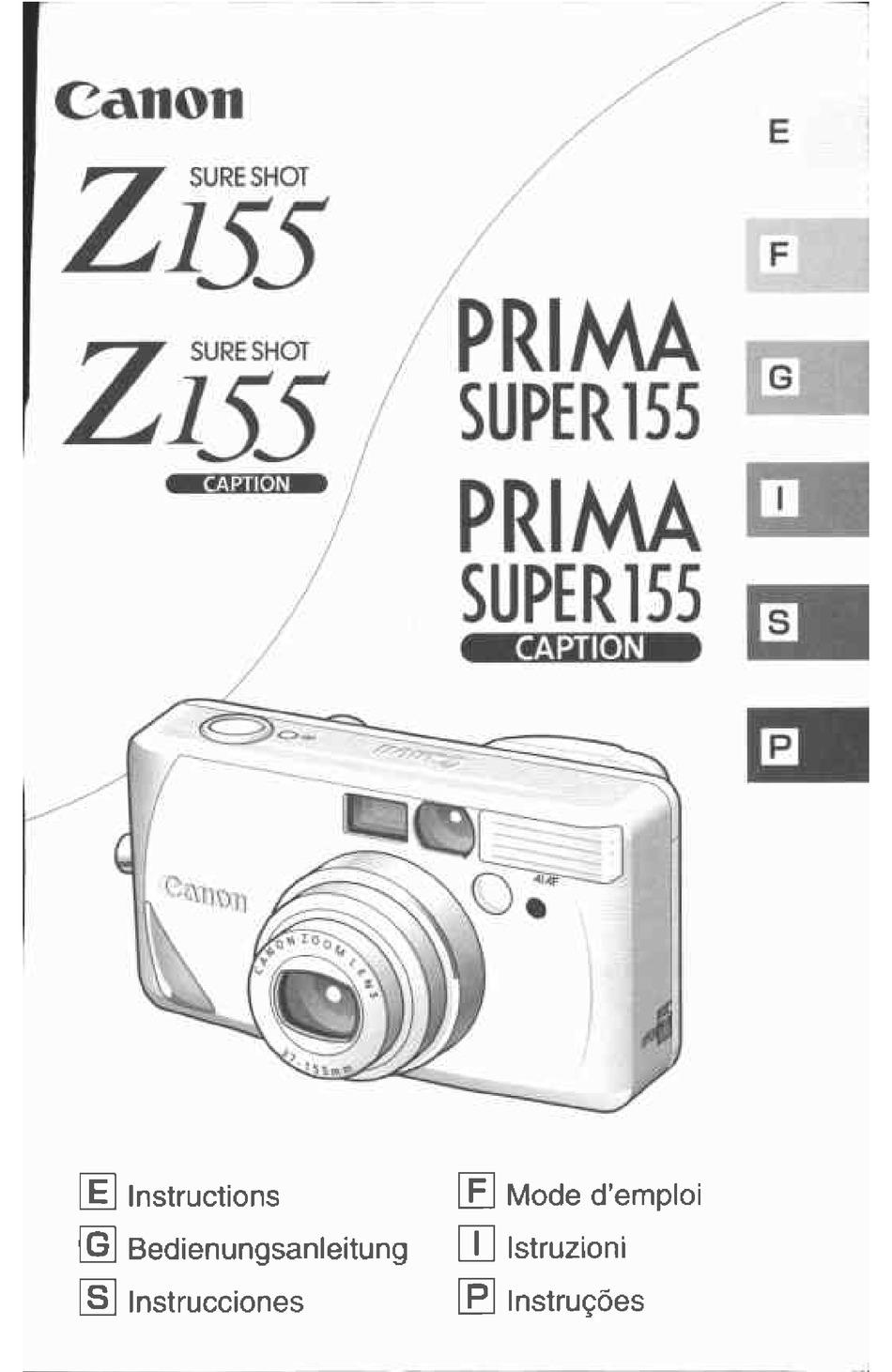 Canon Sure Shot Z155 Caption Date Zoom 35mm Camera Film Cameras ...