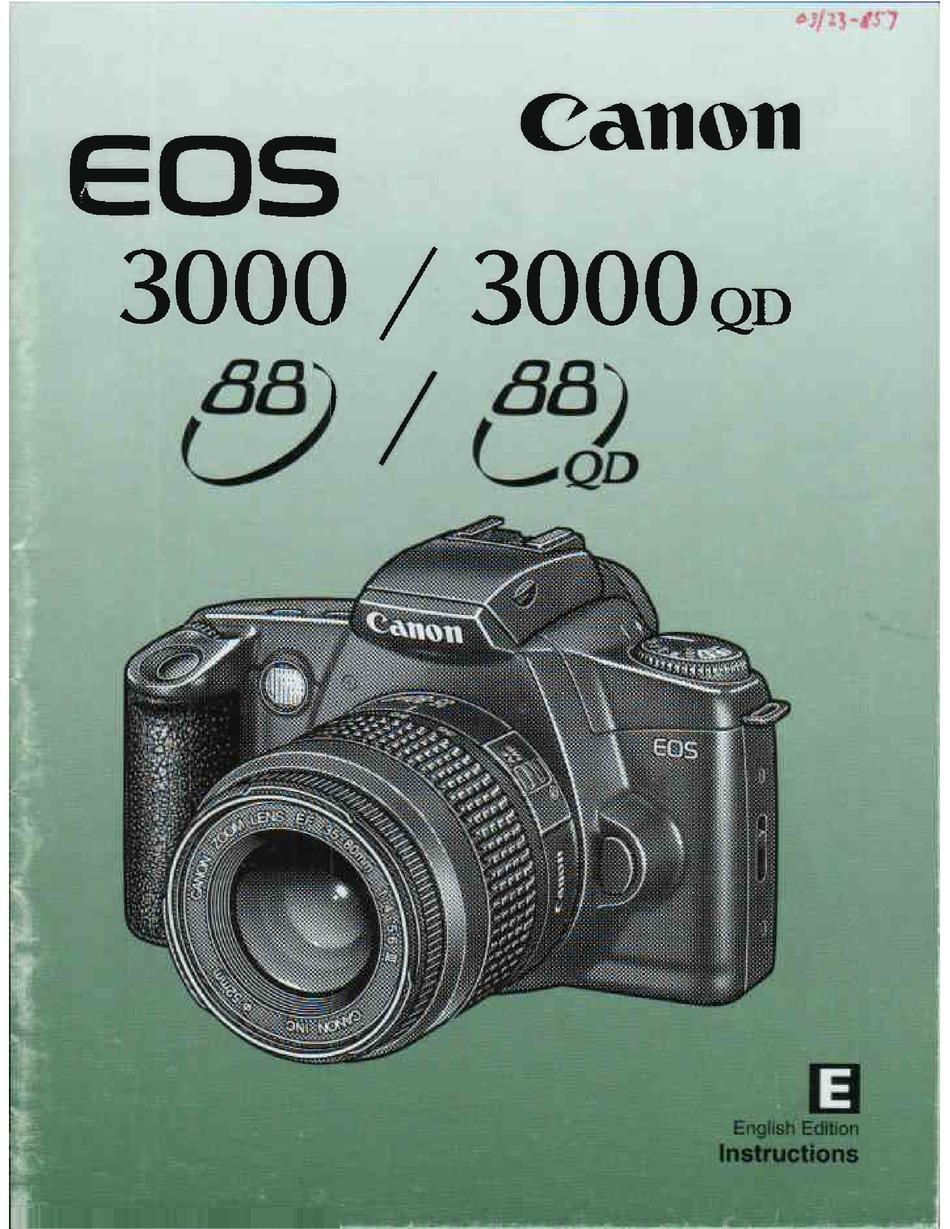 Canon Eos 3000 Instructions Manual Pdf Download Manualslib