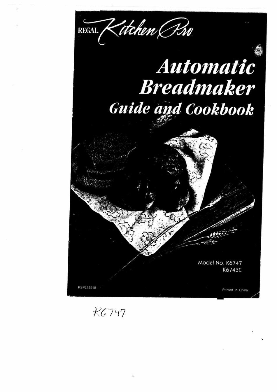 REGAL KITCHEN PRO K12 MANUAL AND COOKBOOK Pdf Download   ManualsLib