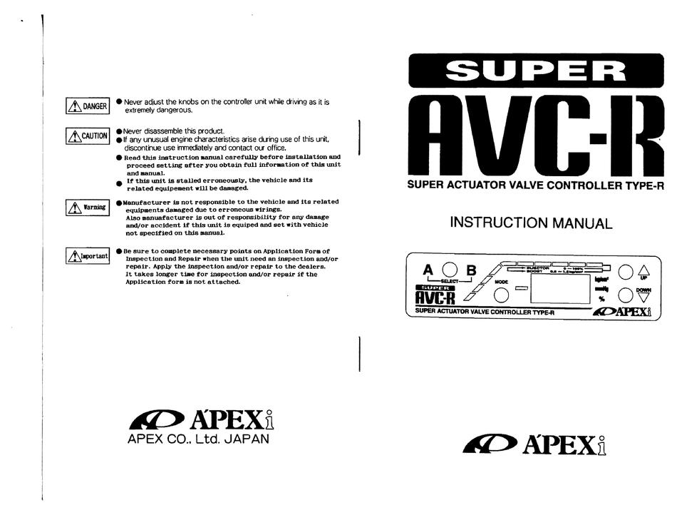 Apexi Super Avc R Instruction Manual, Avcr Wiring Diagram