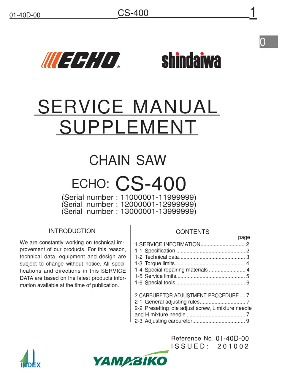 NEW ECHO CS-400 CS 400 CHAINSAW OWNERS MANUAL /& TOOL