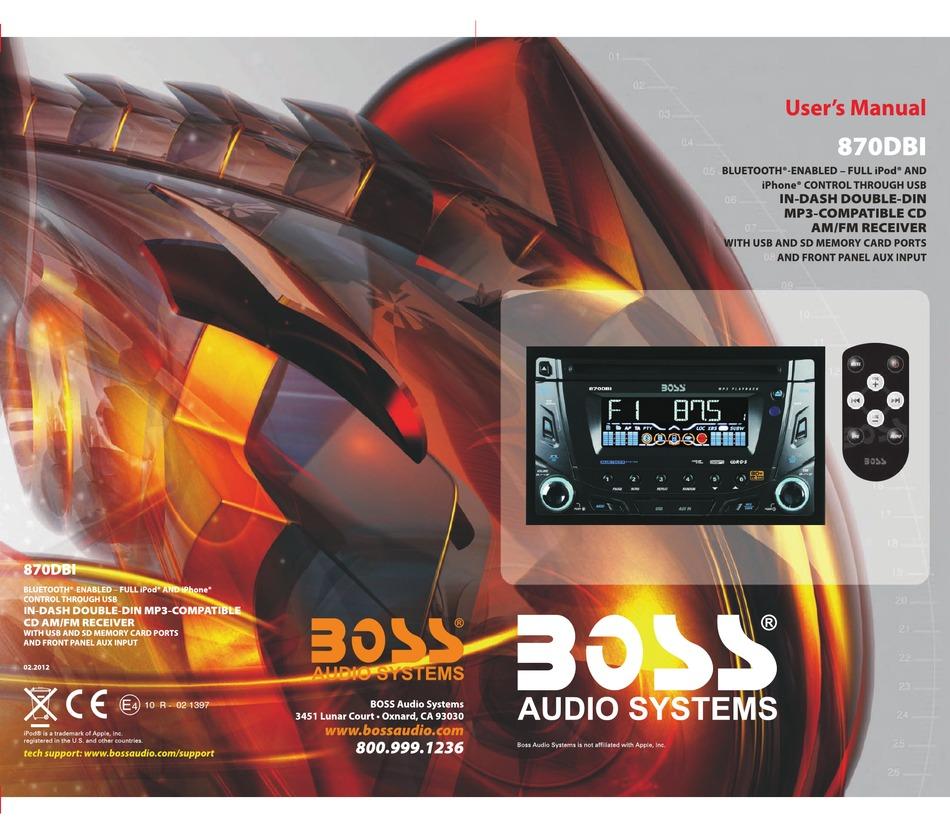 Boss Audio Systems 870dbi User Manual Pdf Download Manualslib