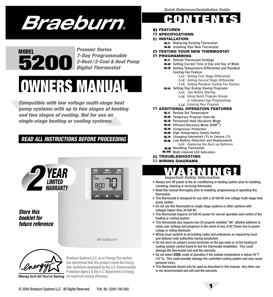 Braeburn 5200 Owner U0026 39 S Manual Pdf Download