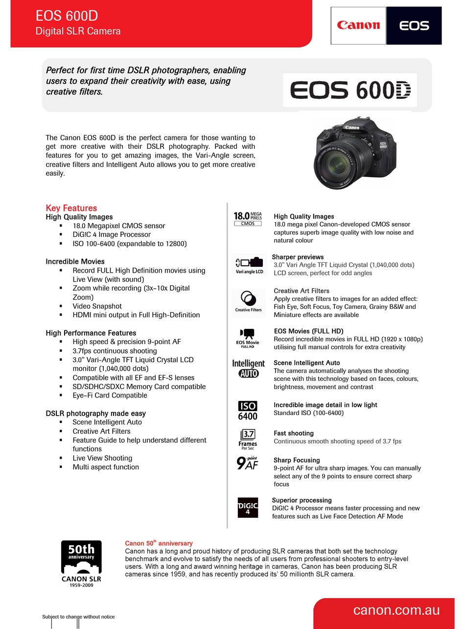 CANON EOS 20D TECHNICAL SPECIFICATIONS Pdf Download   ManualsLib
